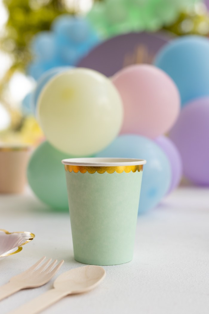 Gold-rimmed Pastel Cup from a Pastel Llama Party on Kara's Party Ideas | KarasPartyIdeas.com (12)