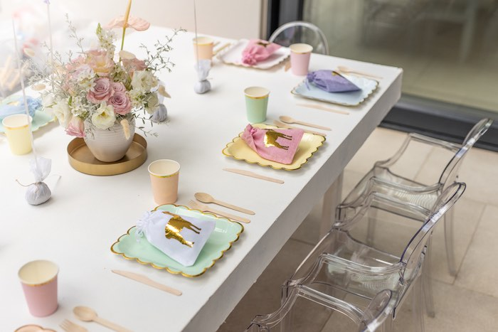 Pastel Guest Table + Table Settings from a Pastel Llama Party on Kara's Party Ideas | KarasPartyIdeas.com (11)