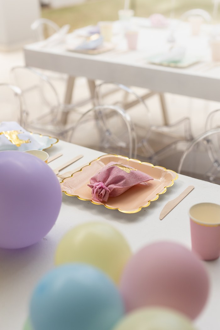 Pastel Table Setting from a Pastel Llama Party on Kara's Party Ideas | KarasPartyIdeas.com (10)