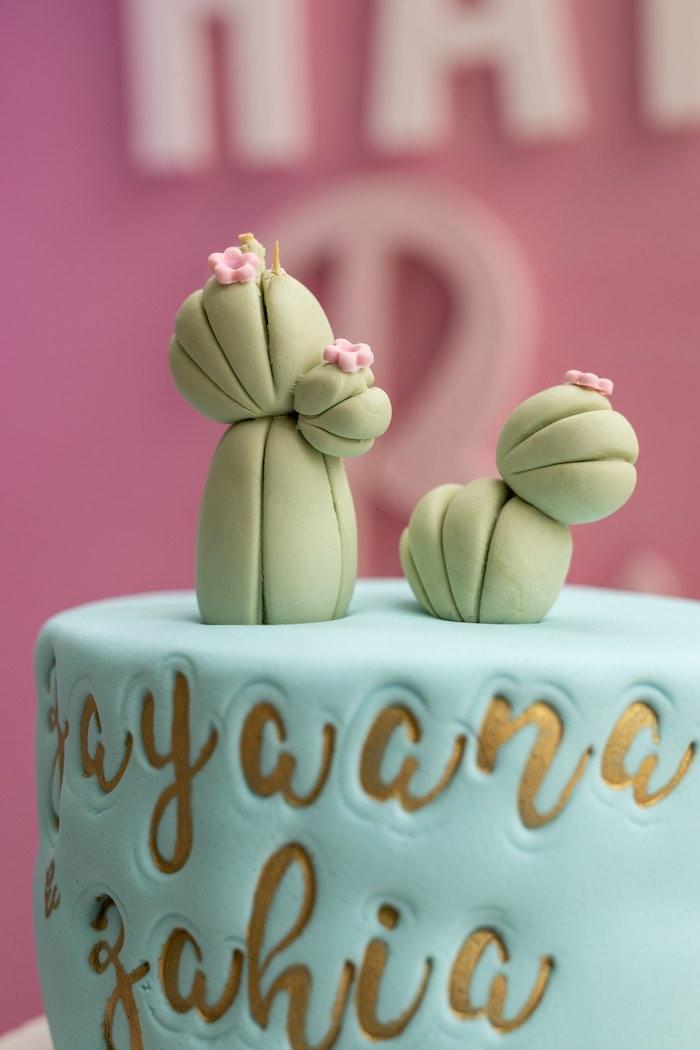 Cactus Cake Top from a Pastel Llama Party on Kara's Party Ideas | KarasPartyIdeas.com (7)