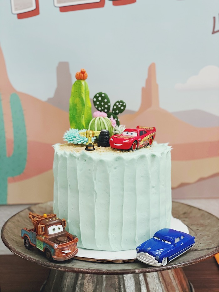 Cars Themed Birthday Cake from a Retro Radiator Springs Birthday Party on Kara's Party Ideas | KarasPartyIdeas.com (8)