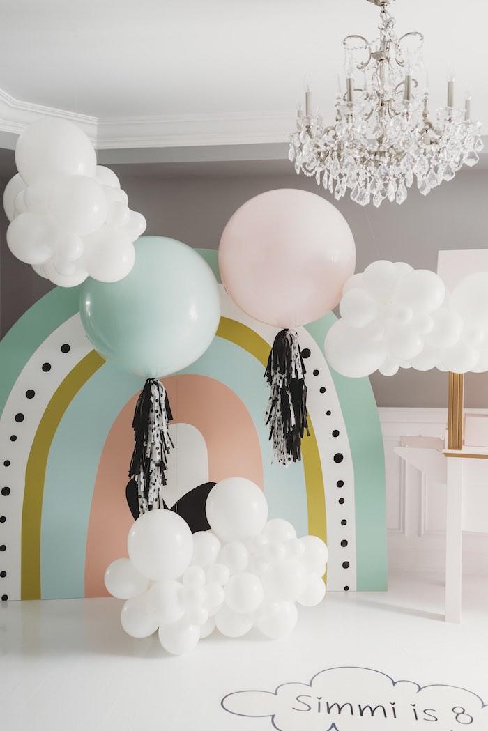 Rainbow & Cloud Backdrop from a Sleek + Minimal Pastel Rainbow Party on Kara's Party Ideas | KarasPartyIdeas.com (8)