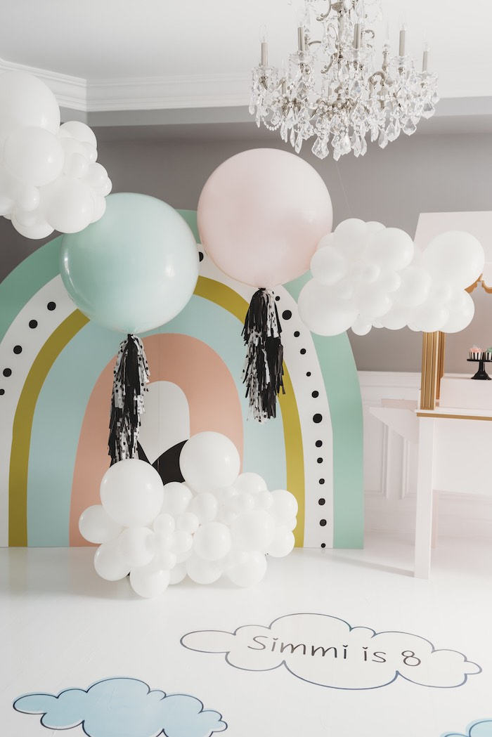 Rainbow & Cloud Backdrop from a Sleek + Minimal Pastel Rainbow Party on Kara's Party Ideas | KarasPartyIdeas.com (7)