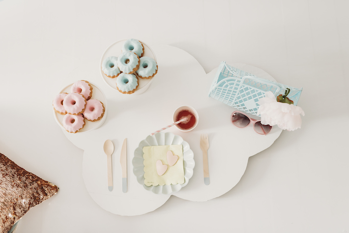 Cloud Table with Pastel Table Setting & Mini Bundt Cakes from a Sleek + Minimal Pastel Rainbow Party on Kara's Party Ideas | KarasPartyIdeas.com (19)