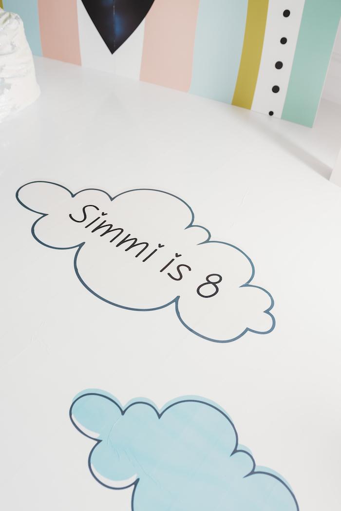 Custom Cloud Floor Decal from a Sleek + Minimal Pastel Rainbow Party on Kara's Party Ideas | KarasPartyIdeas.com (13)
