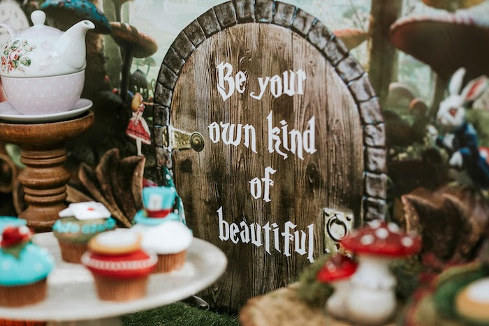 Rustic Be Your Own Kind of Beautiful Sign from a Woodland Alice in Wonderland Tea Party on Kara's Party Ideas | KarasPartyIdeas.com (26)