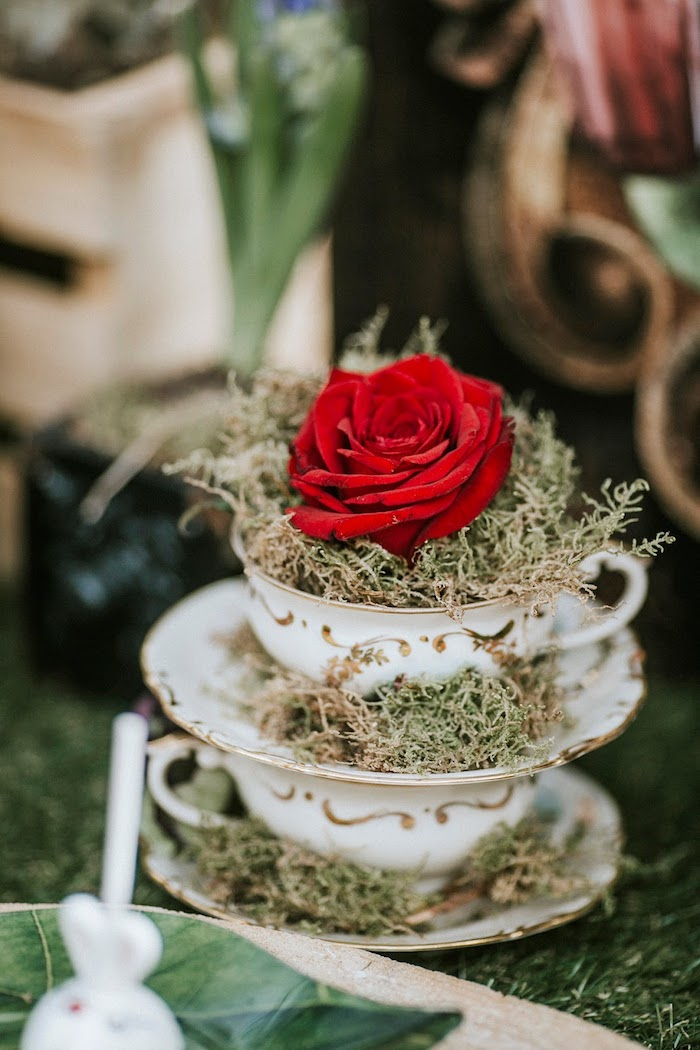 Tea Cups & Roses from a Woodland Alice in Wonderland Tea Party on Kara's Party Ideas | KarasPartyIdeas.com (24)