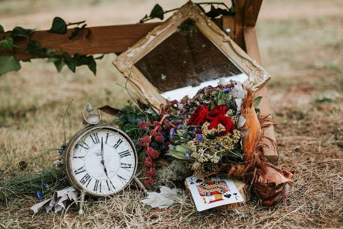 Clock & Blooms from a Woodland Alice in Wonderland Tea Party on Kara's Party Ideas | KarasPartyIdeas.com (23)