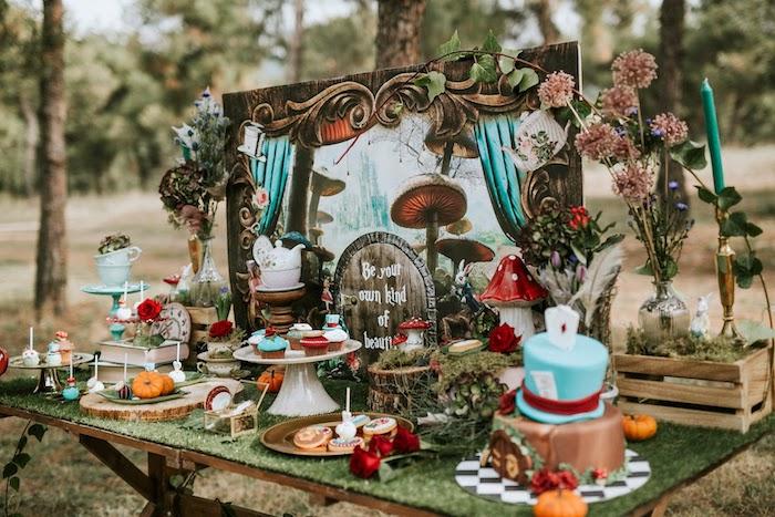 Alice in Wonderland Dessert Table from a Woodland Alice in Wonderland Tea Party on Kara's Party Ideas | KarasPartyIdeas.com (22)