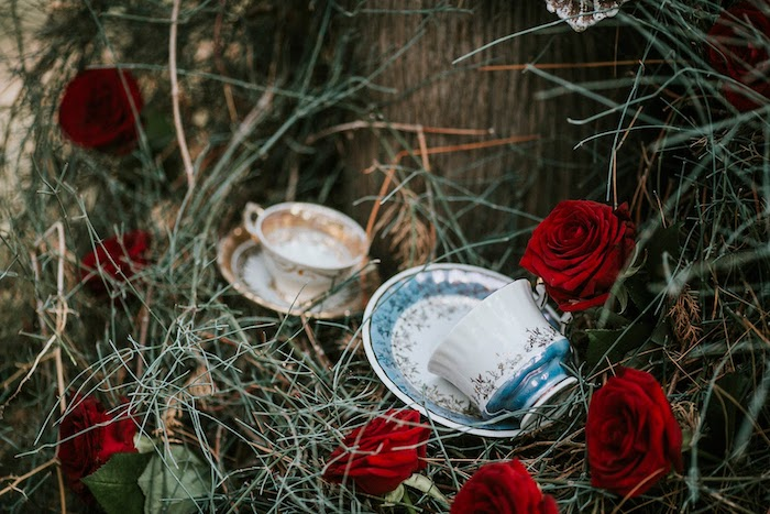 Tea Cups, Roses and Brush from a Woodland Alice in Wonderland Tea Party on Kara's Party Ideas | KarasPartyIdeas.com (17)