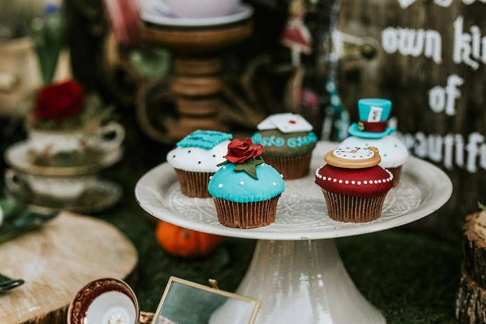 Alice in Wonderland Cupcakes from a Woodland Alice in Wonderland Tea Party on Kara's Party Ideas | KarasPartyIdeas.com (35)