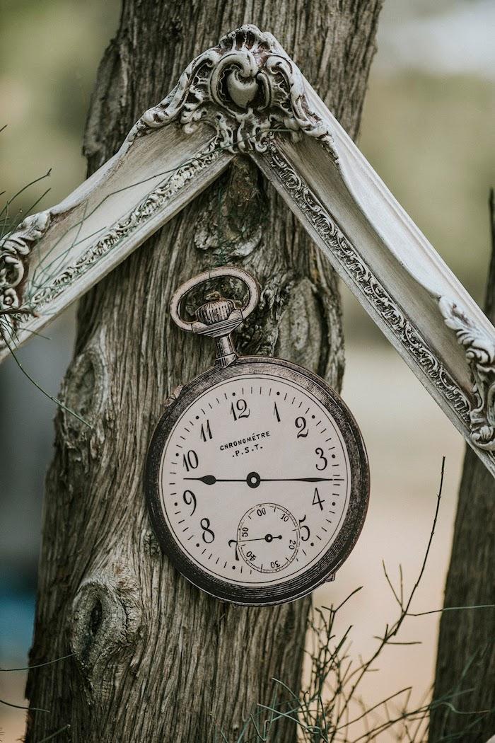 Frame + Clock from a Woodland Alice in Wonderland Tea Party on Kara's Party Ideas | KarasPartyIdeas.com (16)