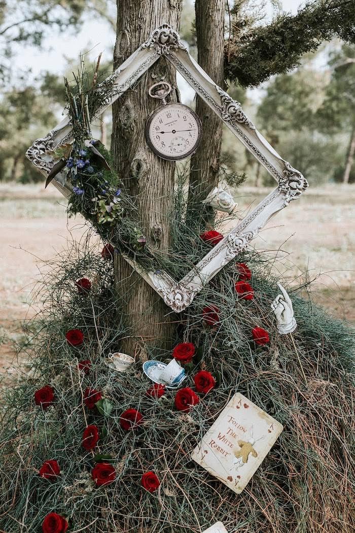 Roses & Clocks from a Woodland Alice in Wonderland Tea Party on Kara's Party Ideas | KarasPartyIdeas.com (15)