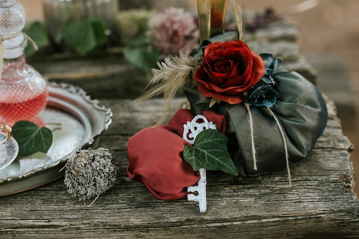 Key & Rose Decoration from a Woodland Alice in Wonderland Tea Party on Kara's Party Ideas | KarasPartyIdeas.com (10)