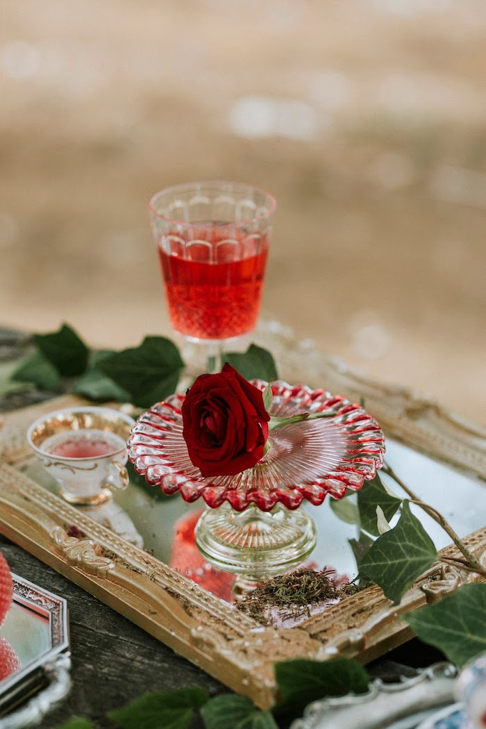 Rose + Crystal Glass from a Woodland Alice in Wonderland Tea Party on Kara's Party Ideas | KarasPartyIdeas.com (9)