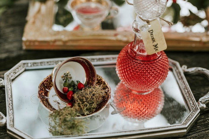 """""""Drink Me"""" Juice + Moss Tea Cup from a Woodland Alice in Wonderland Tea Party on Kara's Party Ideas 
