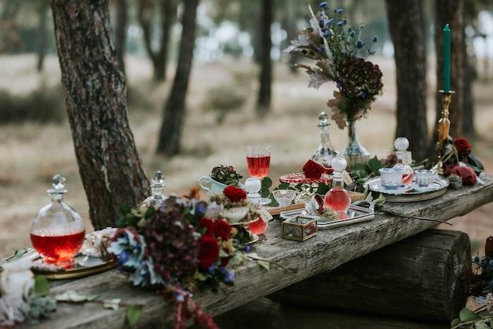 Rustic Woodland Tea Table from a Woodland Alice in Wonderland Tea Party on Kara's Party Ideas | KarasPartyIdeas.com (7)