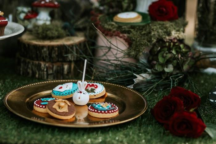 Alice in Wonderland Cookies + White Rabbit Cake Pop from a Woodland Alice in Wonderland Tea Party on Kara's Party Ideas | KarasPartyIdeas.com (34)