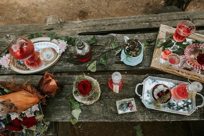 Rustic Woodland Tea Table from a Woodland Alice in Wonderland Tea Party on Kara's Party Ideas | KarasPartyIdeas.com (6)