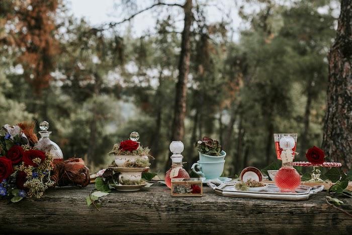 Rustic Woodland Tea Table from a Woodland Alice in Wonderland Tea Party on Kara's Party Ideas | KarasPartyIdeas.com (5)