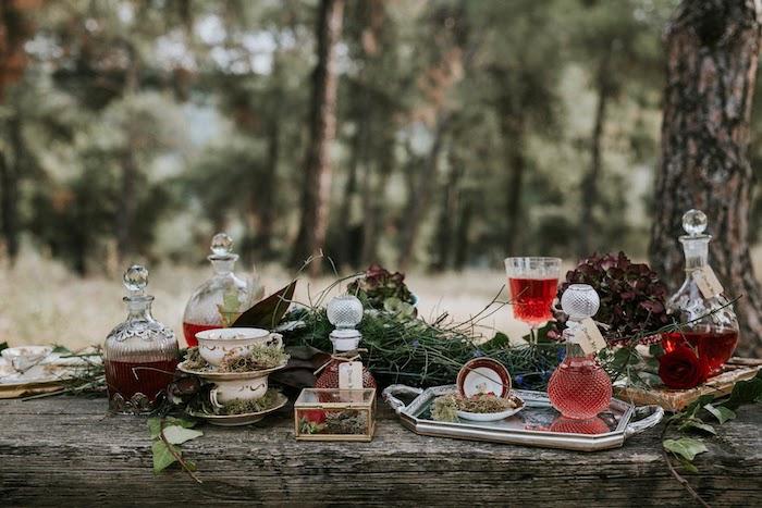 Rustic Tea Table from a Woodland Alice in Wonderland Tea Party on Kara's Party Ideas | KarasPartyIdeas.com (4)