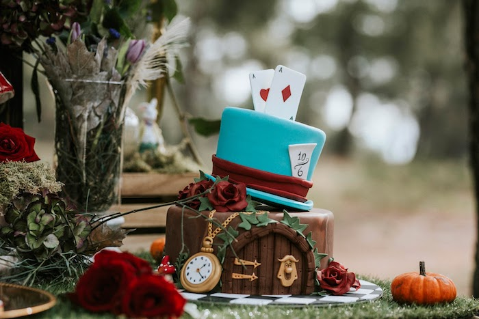 Alice in Wonderland Cake from a Woodland Alice in Wonderland Tea Party on Kara's Party Ideas | KarasPartyIdeas.com (32)