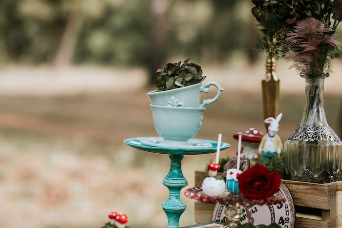 Stacked Tea Cups from a Woodland Alice in Wonderland Tea Party on Kara's Party Ideas | KarasPartyIdeas.com (30)