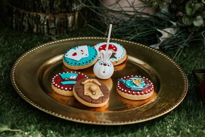 Alice in Wonderland Cookies + White Rabbit Cake Pop from a Woodland Alice in Wonderland Tea Party on Kara's Party Ideas | KarasPartyIdeas.com (28)