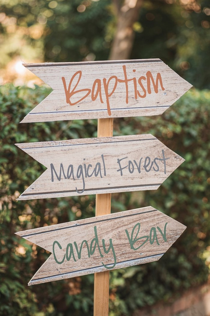 Wood-grained Directional Sign from a Woodland Forest Christening Party on Kara's Party Ideas | KarasPartyIdeas.com (25)