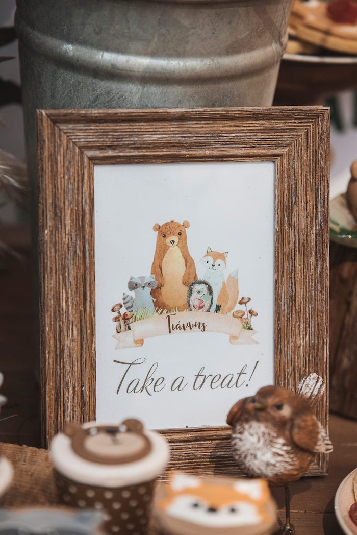 "Woodland ""Take a Break"" Print + Signage from a Woodland Forest Christening Party on Kara's Party Ideas 