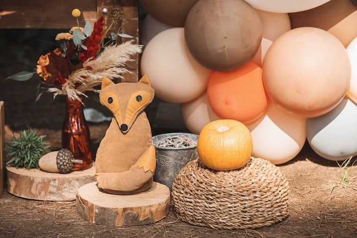 Plush Fox Decoration from a Woodland Forest Christening Party on Kara's Party Ideas | KarasPartyIdeas.com (21)