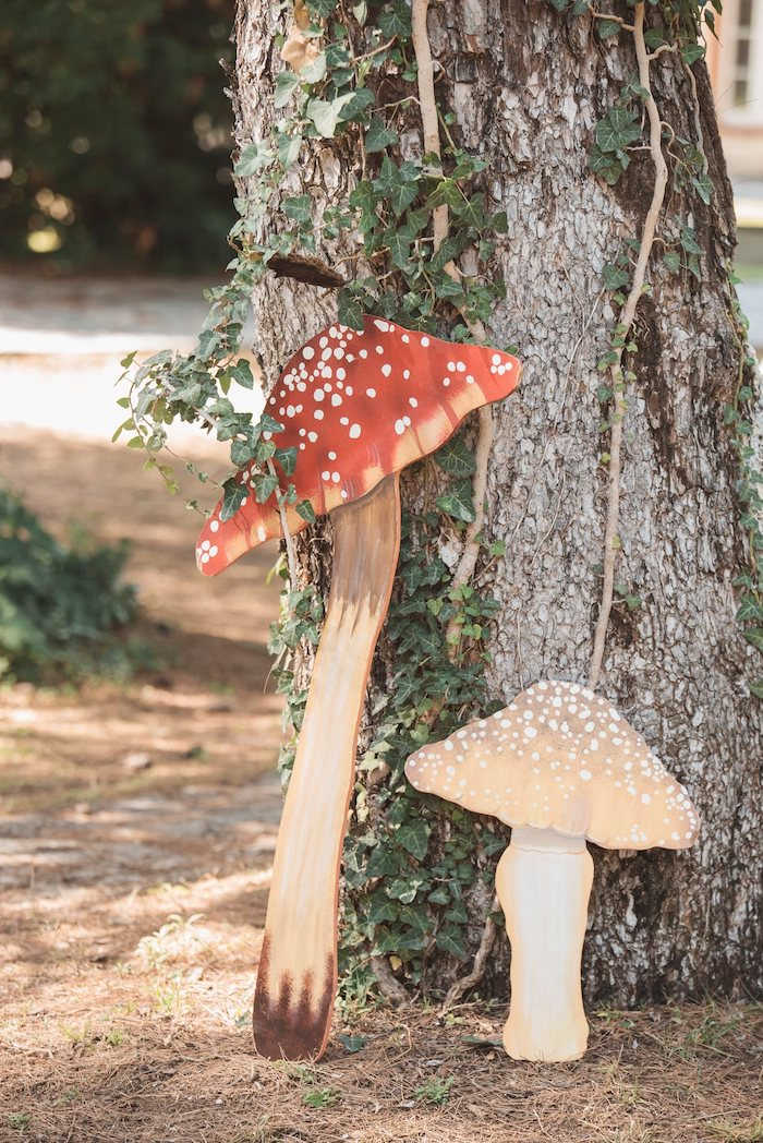 Toadstool Decorations from a Woodland Forest Christening Party on Kara's Party Ideas | KarasPartyIdeas.com (20)