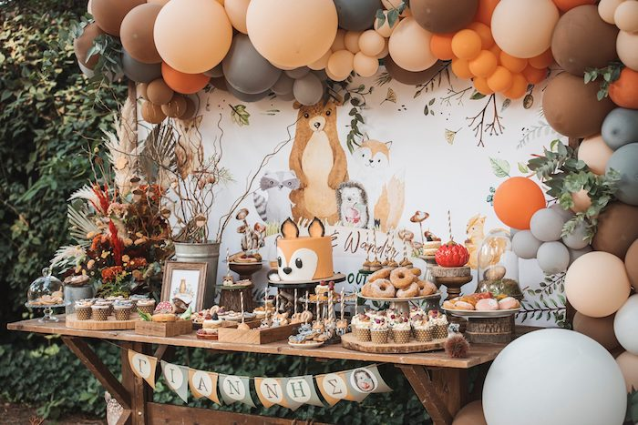 Woodland Themed Dessert Table from a Woodland Forest Christening Party on Kara's Party Ideas | KarasPartyIdeas.com (19)