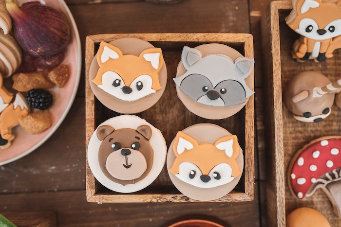Woodland Animal Cupcakes from a Woodland Forest Christening Party on Kara's Party Ideas | KarasPartyIdeas.com (18)