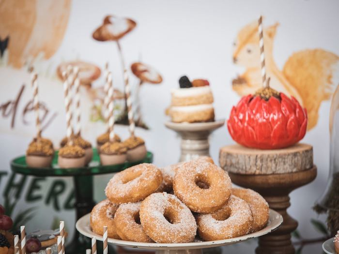 Sugared Donuts from a Woodland Forest Christening Party on Kara's Party Ideas | KarasPartyIdeas.com (35)