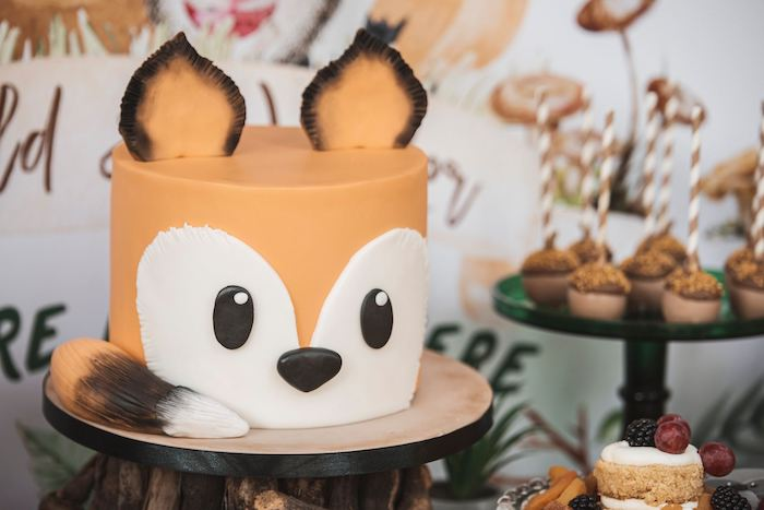 Fox Cake from a Woodland Forest Christening Party on Kara's Party Ideas | KarasPartyIdeas.com (15)