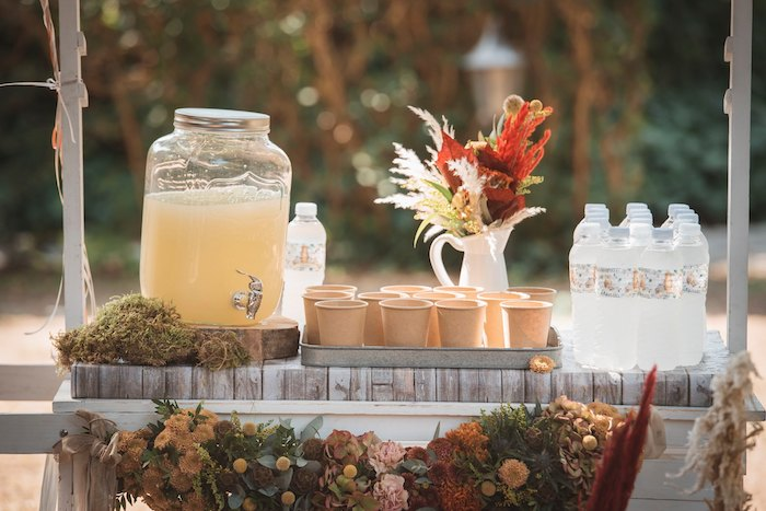 Woodland-inspired Beverage Cart from a Woodland Forest Christening Party on Kara's Party Ideas | KarasPartyIdeas.com (13)