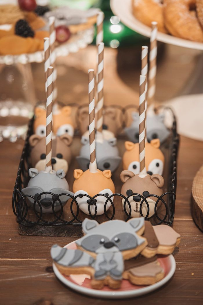 Woodland Animal Cake Pops from a Woodland Forest Christening Party on Kara's Party Ideas | KarasPartyIdeas.com (12)