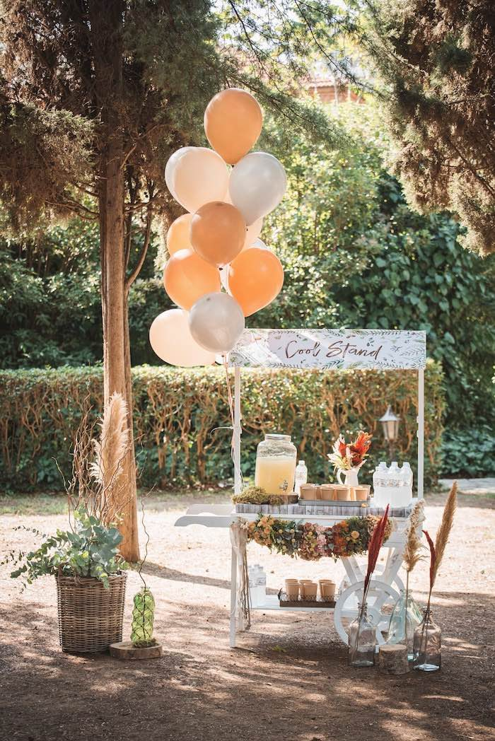 Woodland-inspired Beverage Cart from a Woodland Forest Christening Party on Kara's Party Ideas | KarasPartyIdeas.com (34)