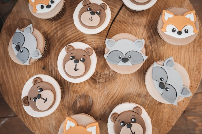 Woodland Animal Cupcakes from a Woodland Forest Christening Party on Kara's Party Ideas | KarasPartyIdeas.com (6)