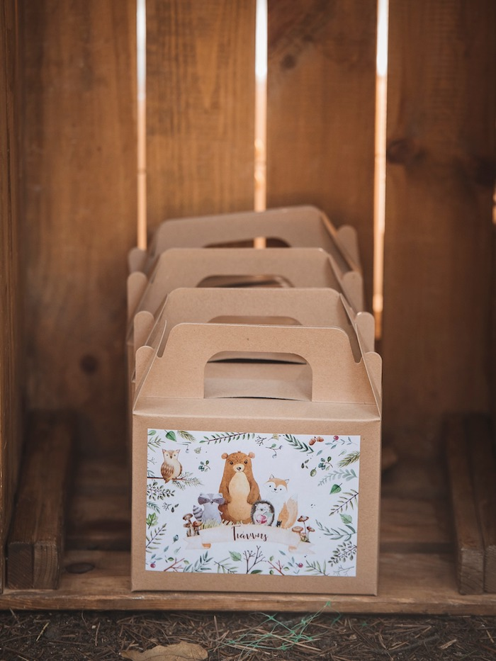 Custom Woodland-labeled Gable Favor Boxes from a Woodland Forest Christening Party on Kara's Party Ideas | KarasPartyIdeas.com (5)