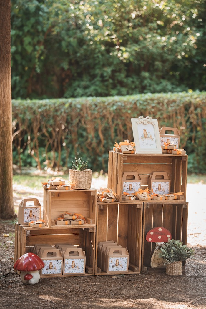 Wood Crate Shelves + Favors from a Woodland Forest Christening Party on Kara's Party Ideas | KarasPartyIdeas.com (4)