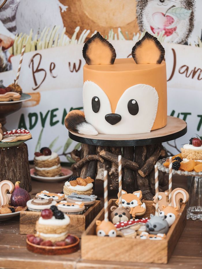 Woodland Fox Cake from a Woodland Forest Christening Party on Kara's Party Ideas | KarasPartyIdeas.com (33)