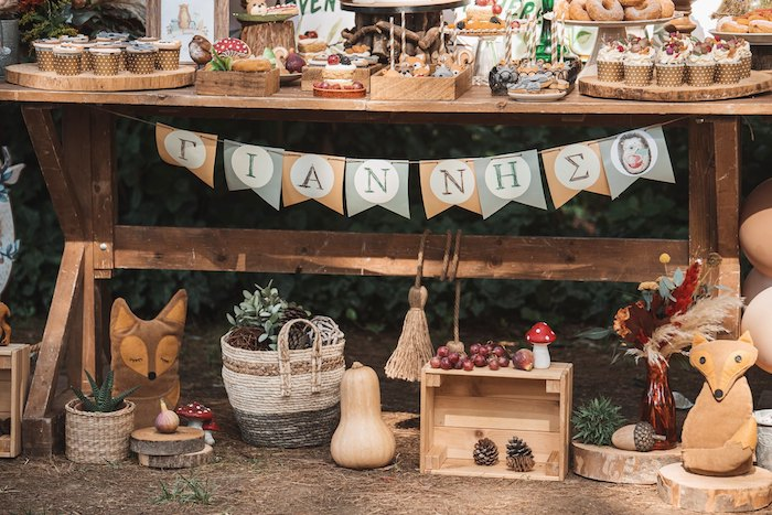 Woodland Themed Dessert Table Decor from a Woodland Forest Christening Party on Kara's Party Ideas | KarasPartyIdeas.com (29)