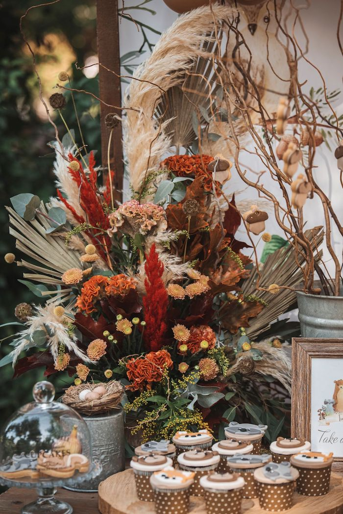 Woodland Floral Arrangement from a Woodland Forest Christening Party on Kara's Party Ideas | KarasPartyIdeas.com (28)
