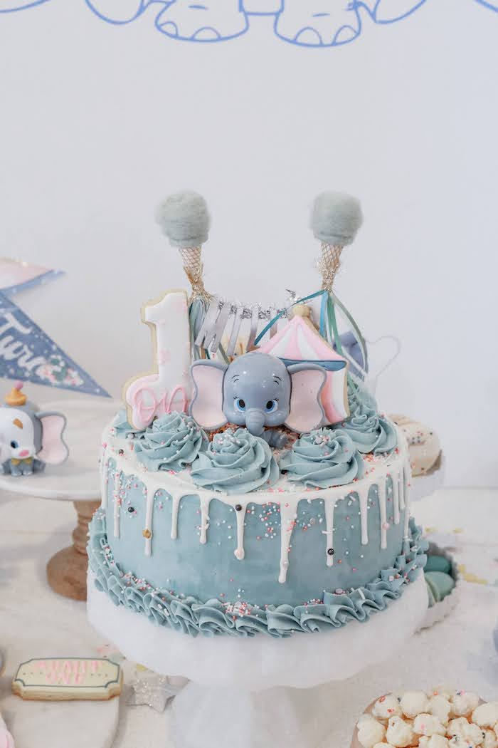 Dumbo Cake from a Pastel Dumbo + Circus Birthday Party on Kara's Party Ideas | KarasPartyIdeas.com (26)
