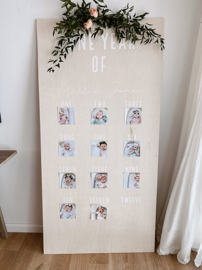 First Year Photo Board from a Pastel Dumbo + Circus Birthday Party on Kara's Party Ideas | KarasPartyIdeas.com (22)
