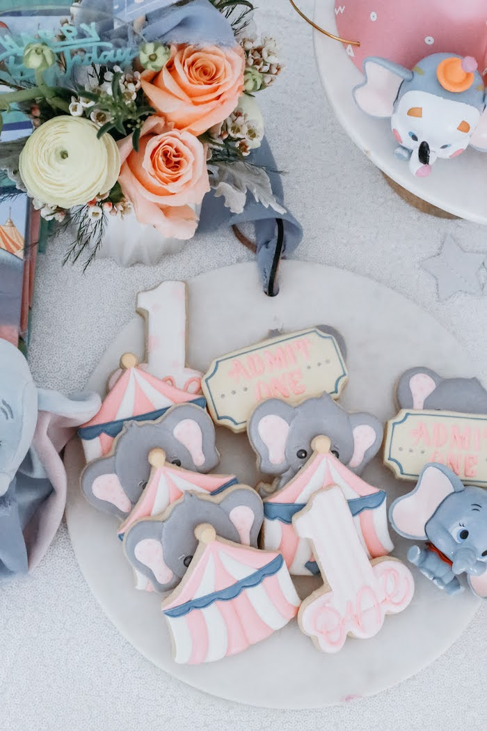 Dumbo Circus Cookies from a Pastel Dumbo + Circus Birthday Party on Kara's Party Ideas | KarasPartyIdeas.com (21)