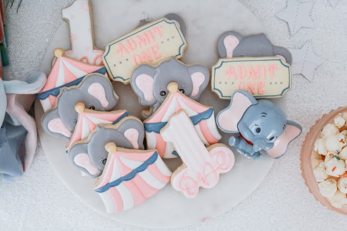 Dumbo Circus Cookies from a Pastel Dumbo + Circus Birthday Party on Kara's Party Ideas | KarasPartyIdeas.com (19)