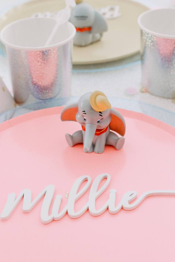 Name Script Place Card + Dumbo Figurine Table Setting from a Pastel Dumbo + Circus Birthday Party on Kara's Party Ideas | KarasPartyIdeas.com (14)
